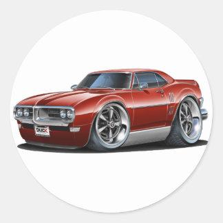 1968 Firebird Maroon Car Classic Round Sticker