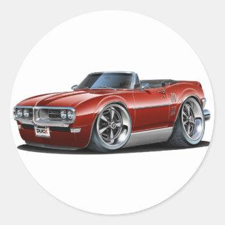 1968 Firebird Maroon Convertible Classic Round Sticker