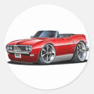 1968 Firebird Red Convertible Classic Round Sticker