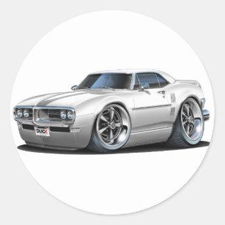 1968 Firebird White Car Classic Round Sticker