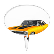 1968 Gold Muscle Car Cake Topper