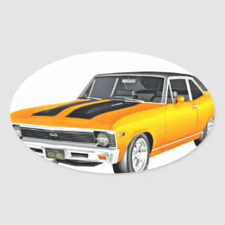 1968 Gold Muscle Car Oval Sticker