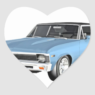 1968 Light Blue Muscle Cars Heart Sticker