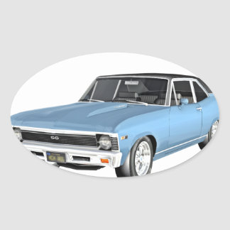 1968 Light Blue Muscle Cars Oval Sticker