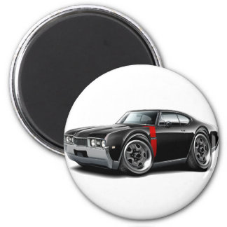 1968 Olds 442  Black-Red Car 2 Inch Round Magnet