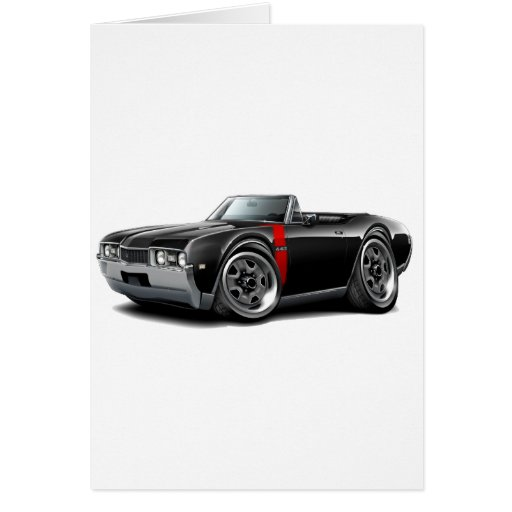 1968 Olds 442  Black-Red Convertible Greeting Card