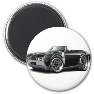 1968 Olds 442  Black-White Convertible 2 Inch Round Magnet
