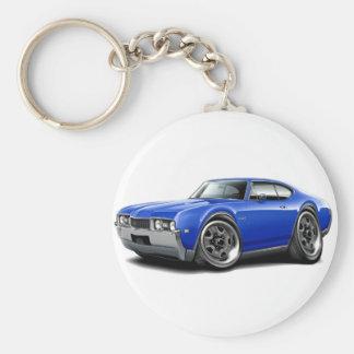 1968 Olds 442 Blue Car Basic Round Button Keychain