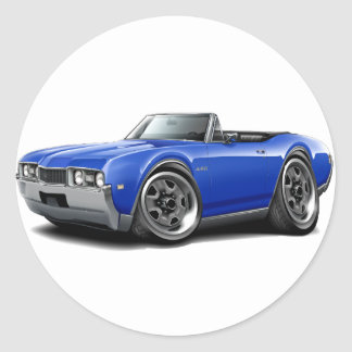 1968 Olds 442 Blue Convertible Classic Round Sticker