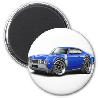 1968 Olds 442 Blue-White Car 2 Inch Round Magnet