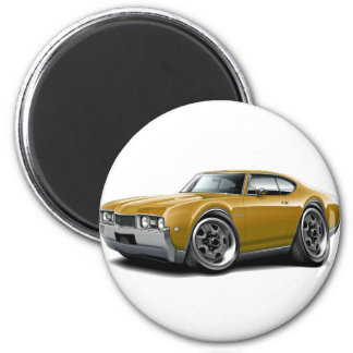 1968 Olds 442 Gold Car 2 Inch Round Magnet