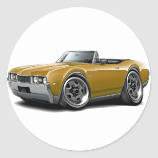 1968 Olds 442 Gold Convertible Classic Round Sticker