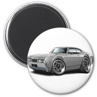 1968 Olds 442 Grey Car 2 Inch Round Magnet