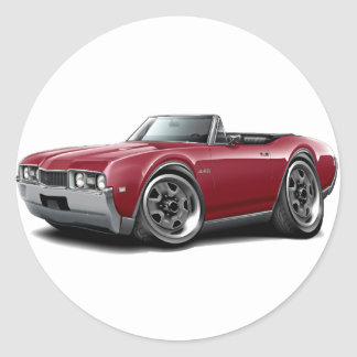 1968 Olds 442 Maroon Convertible Classic Round Sticker