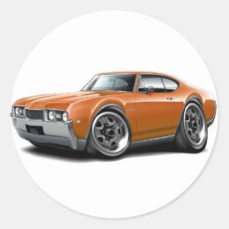 1968 Olds 442 Orange Car Classic Round Sticker