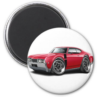 1968 Olds 442 Red-Black Car 2 Inch Round Magnet