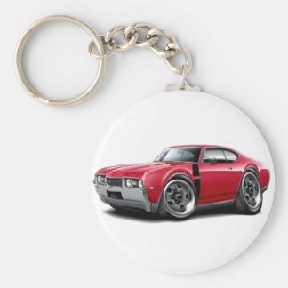 1968 Olds 442 Red-Black Car Basic Round Button Keychain