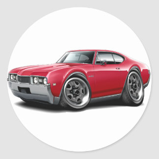 1968 Olds 442 Red Car Classic Round Sticker