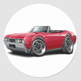 1968 Olds 442 Red Convertible Classic Round Sticker
