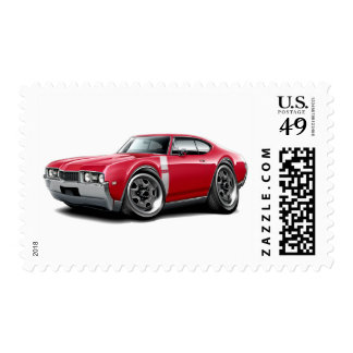 1968 Olds 442 Red-White Car Postage