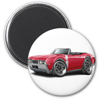 1968 Olds 442 Red-White Convertible 2 Inch Round Magnet