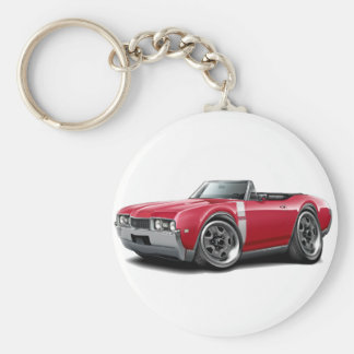 1968 Olds 442 Red-White Convertible Basic Round Button Keychain
