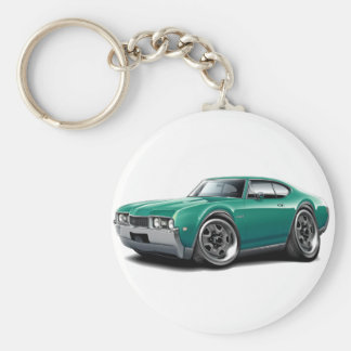 1968 Olds 442 Teal Car Basic Round Button Keychain