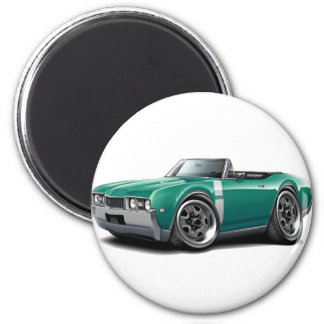 1968 Olds 442 Teal-White Convertible 2 Inch Round Magnet