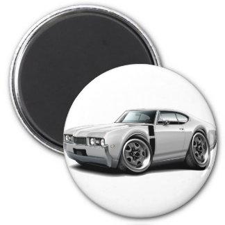 1968 Olds 442 White-Black Car 2 Inch Round Magnet