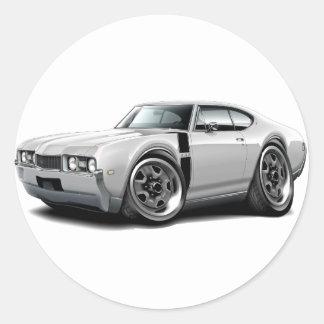 1968 Olds 442 White-Black Car Classic Round Sticker