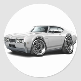 1968 Olds 442 White Car Classic Round Sticker