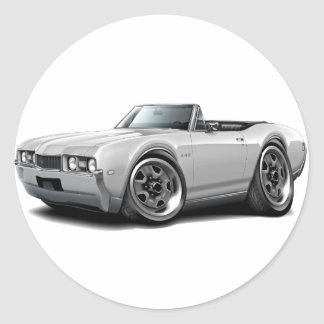 1968 Olds 442 White Convertible Classic Round Sticker
