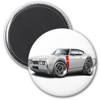 1968 Olds 442 White-Red Car 2 Inch Round Magnet