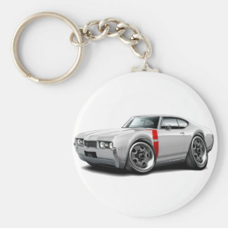 1968 Olds 442 White-Red Car Keychain