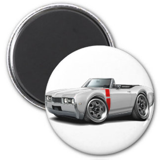 1968 Olds 442 White-Red Convertible 2 Inch Round Magnet