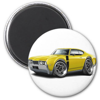 1968 Olds 442 Yellow-Black Car 2 Inch Round Magnet