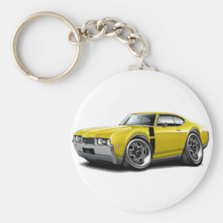 1968 Olds 442 Yellow-Black Car Basic Round Button Keychain