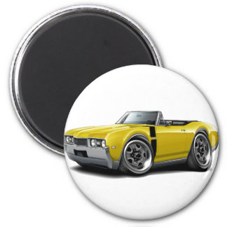1968 Olds 442 Yellow-Black Convertible 2 Inch Round Magnet