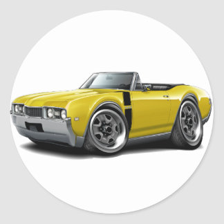 1968 Olds 442 Yellow-Black Convertible Classic Round Sticker