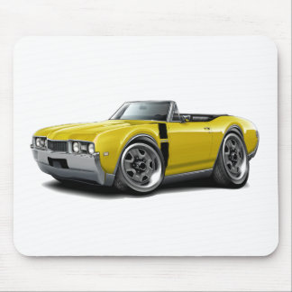 1968 Olds 442 Yellow-Black Convertible Mouse Pad