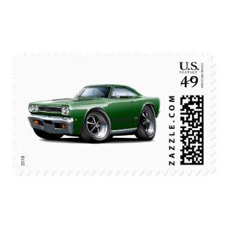 1968 Plymouth GTX Dark Green-Black Car Postage Stamp