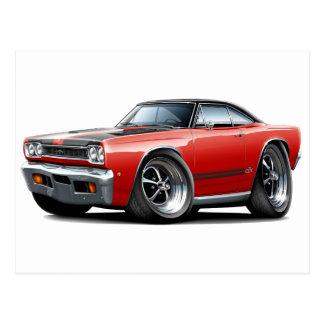 1968 Plymouth GTX Red-Black Hood Car Postcard