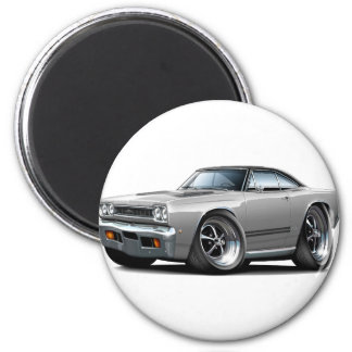 1968 Plymouth GTX Silver-Black Top Car 2 Inch Round Magnet