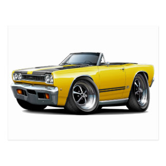 1968 Plymouth GTX Yellow-Black Hood Convert Postcard