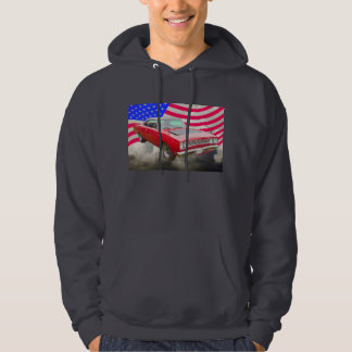 1968 Plymouth Roadrunner And American Flag Hoody