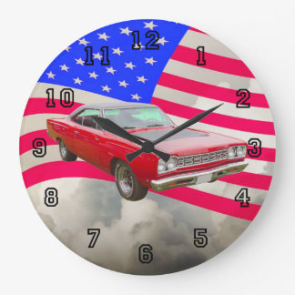 1968 Plymouth Roadrunner And American Flag Large Clock