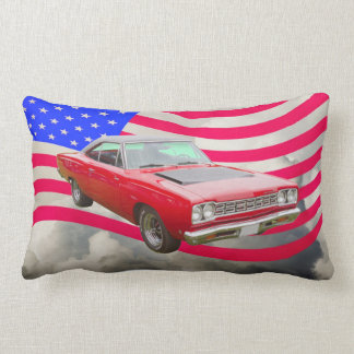 1968 Plymouth Roadrunner And American Flag Lumbar Pillow