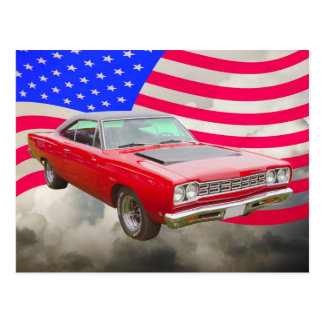 1968 Plymouth Roadrunner And American Flag Postcard