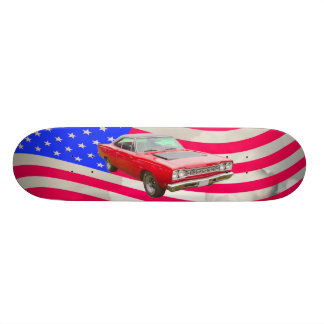 1968 Plymouth Roadrunner And American Flag Skateboard Deck