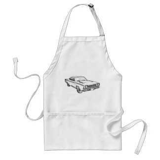 1968 Plymouth Roadrunner Muscle Car Illustration Apron
